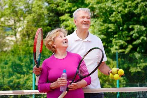 Seniors Playing Tennis