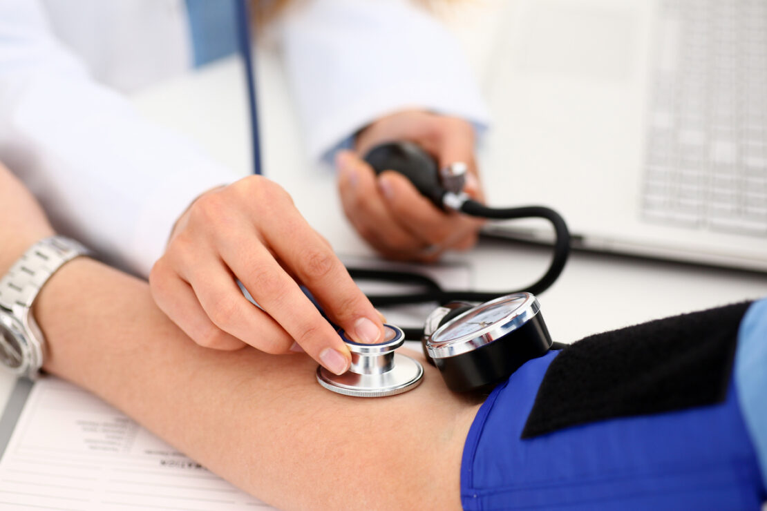 Picture of blood pressure reading.