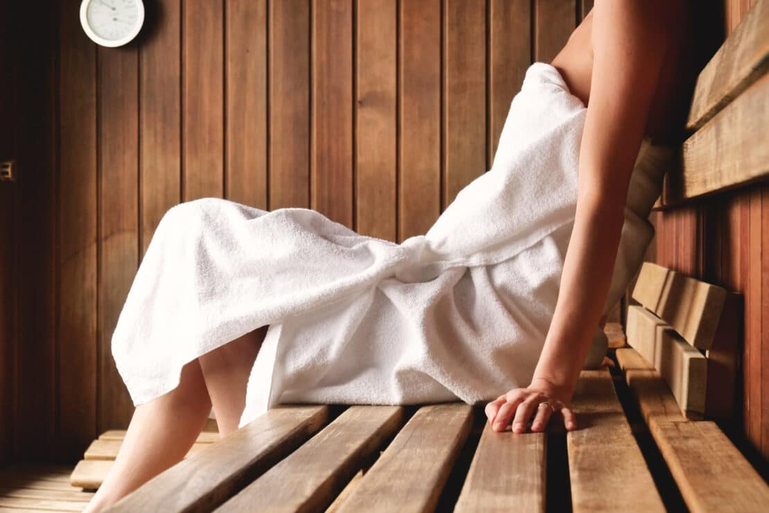 A picture of relaxing in a sauna.