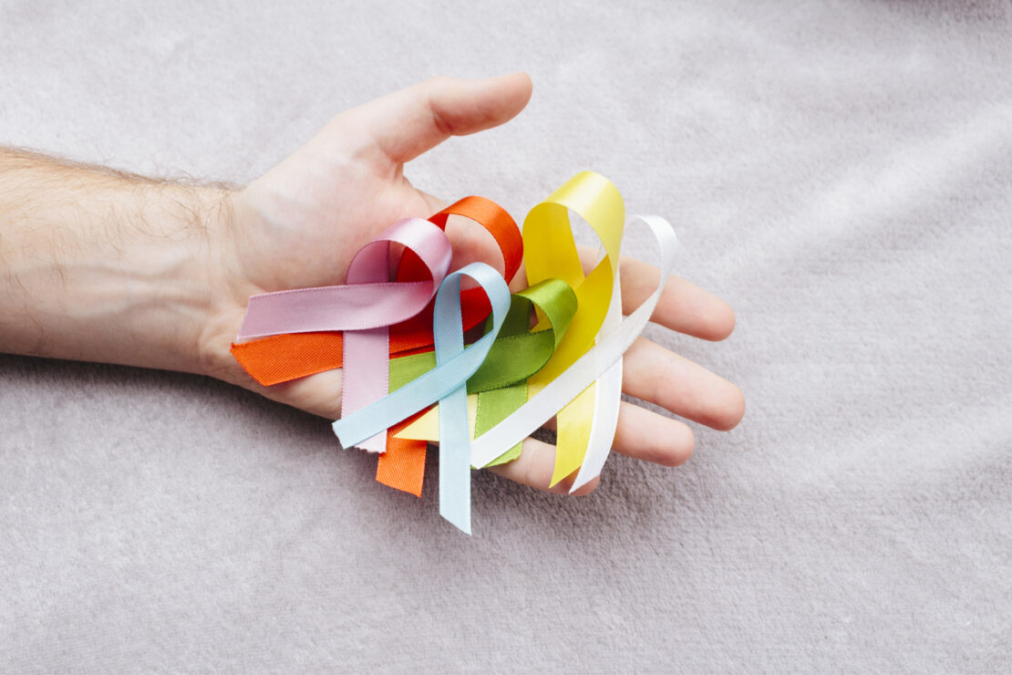 Photo of cancer ribbons.