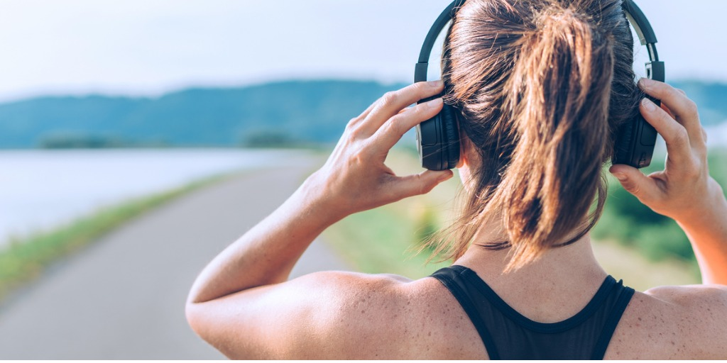 Photo of headphones and exercise.