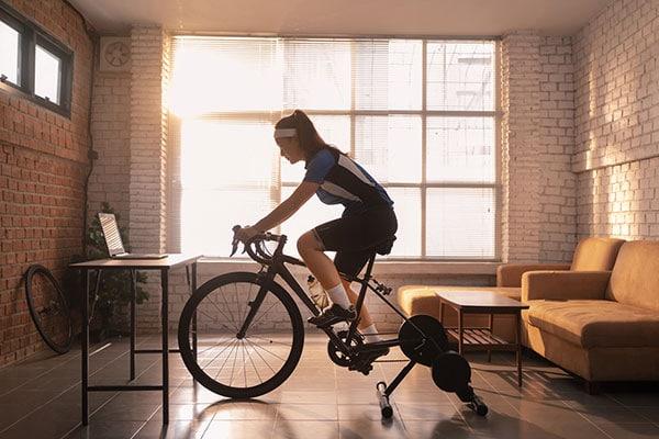 Image of woman on exercise bike