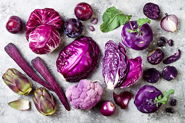 Photo of purple vegetables.