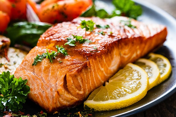 Photo of cooked salmon on plate.